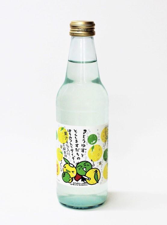 木頭柚子と徳島すだちの      ハチミツ入りサイダー340ml